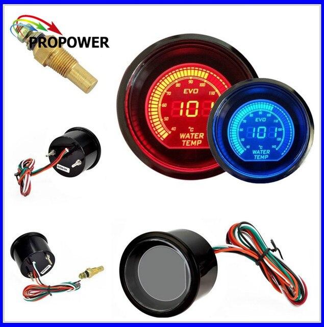 52mm 2inch EVO LCD Red/Blue Water Temp Gauge Smoke Lens With Sensor /AUTO GAUGE
