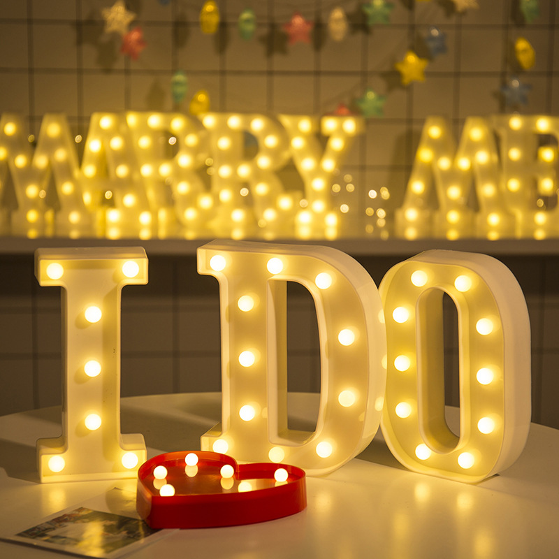 22CM 3D 26 White Letter Wedding Decoration Ornaments 0-9 Number LED Light Indoor Wall Hanging Birthday Party Valentine Decor