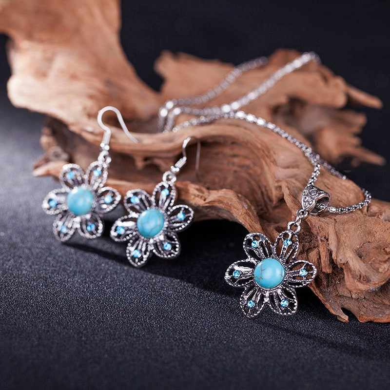 Dia dos namorados Dom Contas de Pedra Azul Conjunto de Jóias Dubai Africano Jóias Pingente Brinco/define Mulher Parure Bijoux Femme
