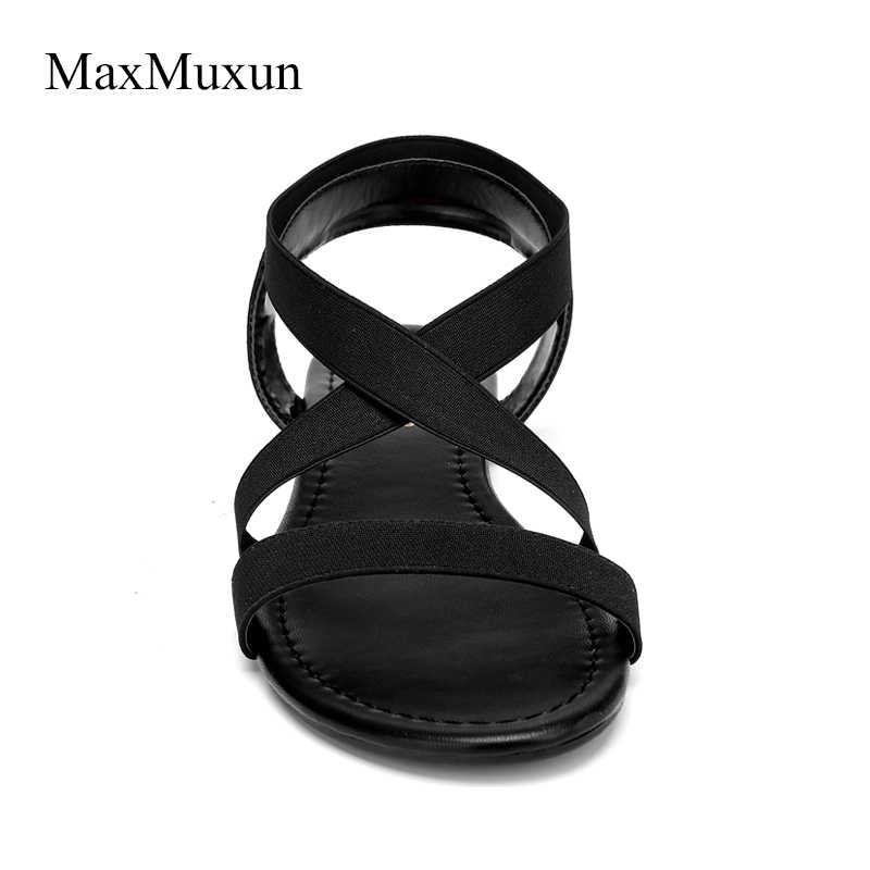 000a8b8c8 ... MaxMuxun Women Elastic Band Cross Tied Flat Sandals Ankle Strappy  Summer Open Toe Flip Flops Casual ...