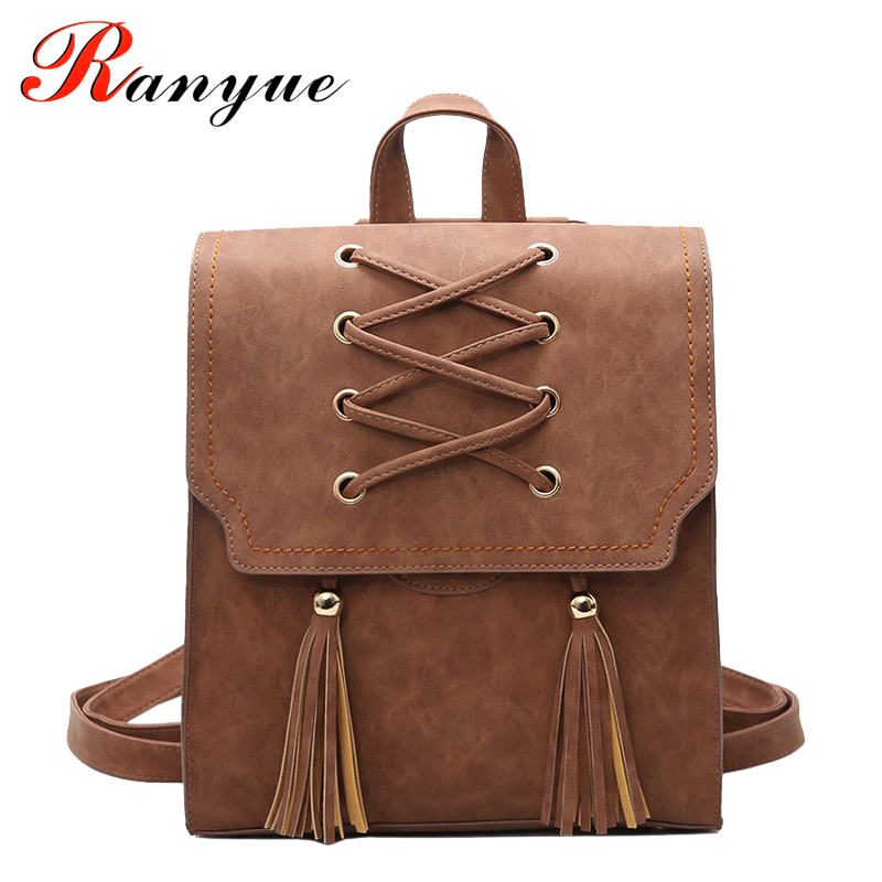 RANYUE 2018 NEW Fashion Backpack Tassel Women Backpack PU Leather School Bag Women Casual Style A4 Paper Women Backpacks Mujeres 2018 new rivet pu leather backpack women fashion school bag casual patent leather travel bag women backpack monster school bag
