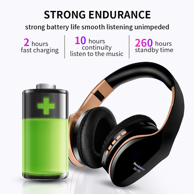 Wireless Bluetooth Headphones Noise Cancelling Headset Foldable Stereo Bass  3