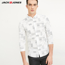 Jack & Jones Brand 2018 NEW COTTON punk style plaid male slim sailor collar three quarter sleeves casual shirts| 216231509(China)