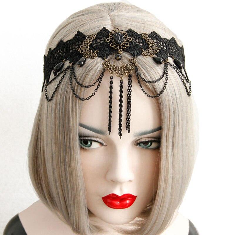 Women Headband Bridal Wedding Black Flower Crown Layer Lace Pearl Chain Tassel Drop Vintage Hair Band Jewelry Elastic Hairband