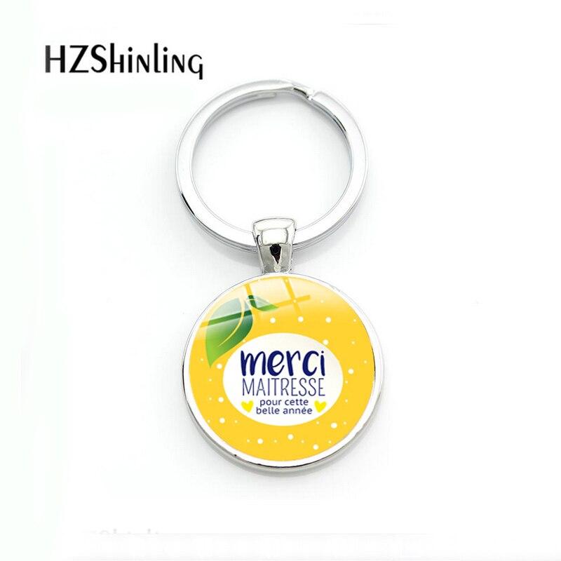 2018 Fashion Merci Maitresse Keyrings Fruit Lemon Orange Keychain Glass Key Holder For Teacher Women Men Belle Gifts