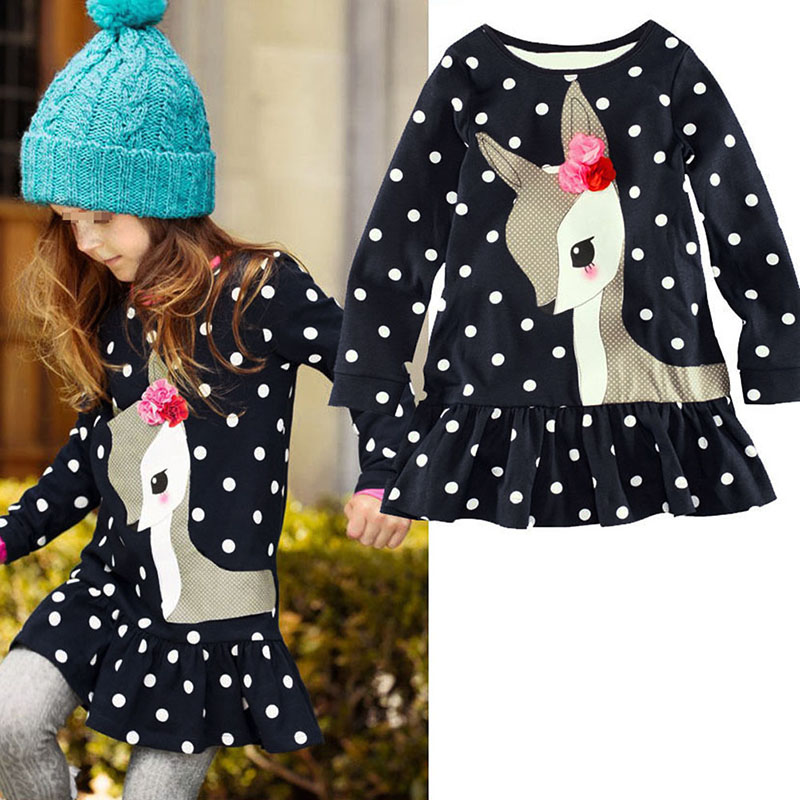 Kids Baby Girls Long Sleeve Lace Dresses One-piece Dots Deer Cotton Girl Dresse Toddlers Clothes toddlers girls dots deer pleated cotton dress long sleeve dresses page 8