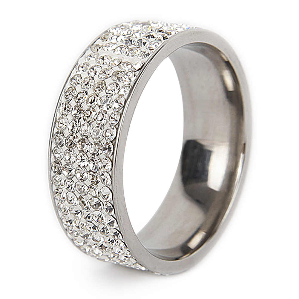Women Men Wide Type Ring Titanium Rings Men Band Simulated Diamonds Rings Wedding Jewelry #3