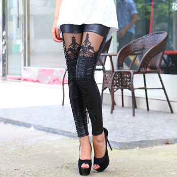 2018 New Fashion Punk Women Leggings Embroidery Lace Up Skinny PU Leather Trousers Sexy Lace Patchwork Pants H9 1