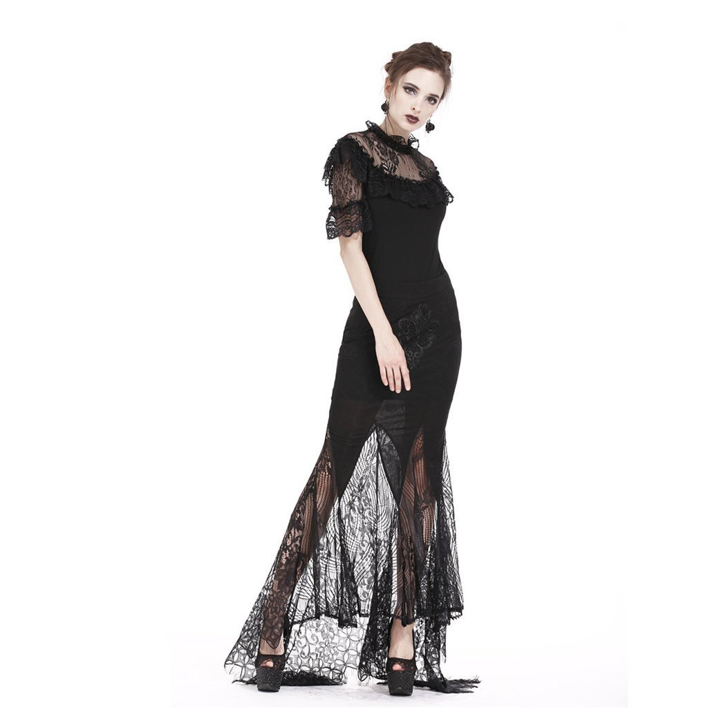 Darkinlove Women's Goth Butterfly Embroideried High-Waisted Lace Hem Maxi Dovetail Wrap Skirt KW127