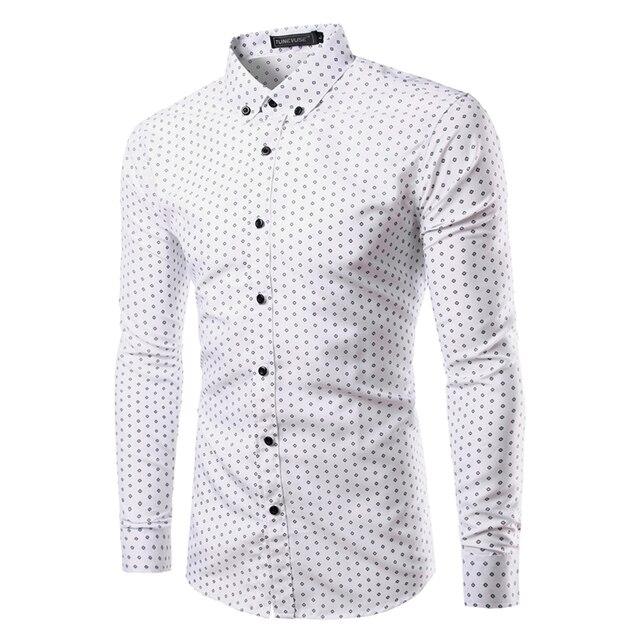 Nuevos Hombres de la Marca Impreso Camisas de Manga Larga Delgada Ocasional Masculina de negocios Vestido Formal de La Manera Poca Camisa Slim Fit Camisa S-XXL TU213