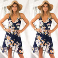 Women Celeb Sexy Floral mini Dress Ladies Summer Beach Party Sun Dress