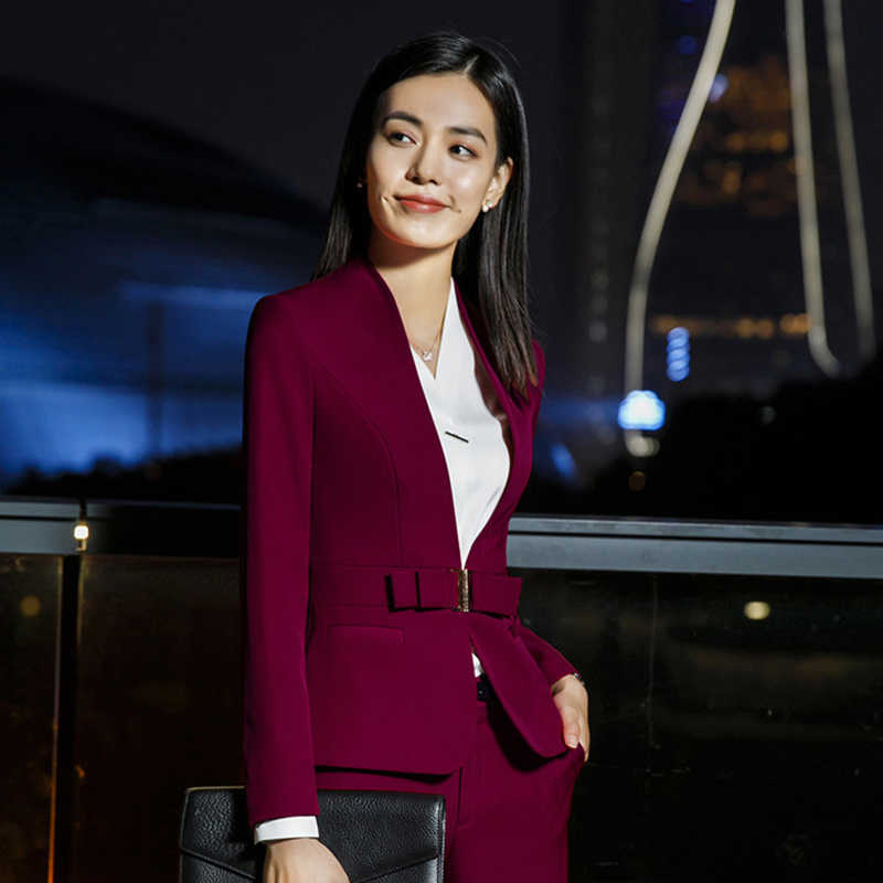 Business Suits,Women Civility Formal Pant/Dress Suits,Office Lady Suit Set,Korean Version Formal Clothes Overolls,M1