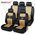 AUTOYOUTH 11pcs Set Fashion Car Seat Covers Sandwich Fabric Universal Fit Cars SUV Vehicles Airbag Compatible Beige Seat Cover