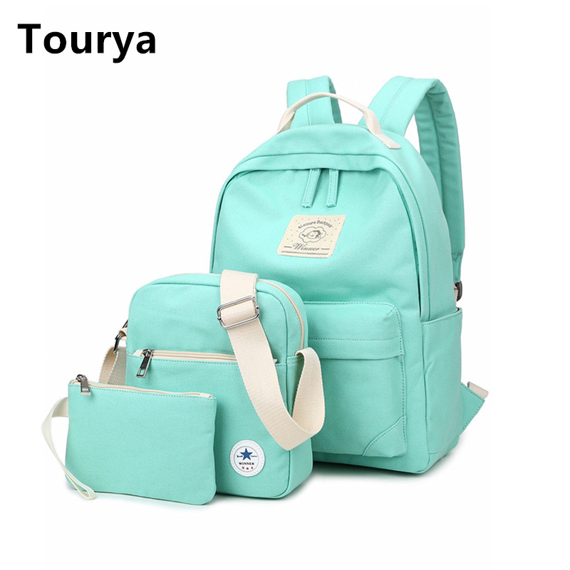 Tourya Casual Canvas Backpack Women Cute School Backpacks for Teenage Girls Vintage Laptop Bag Rucksack Bagpack Female 3pcs/Set 2016 hot sale fashion canvas cute mustache school book bag vintage women backpack casual women backpack