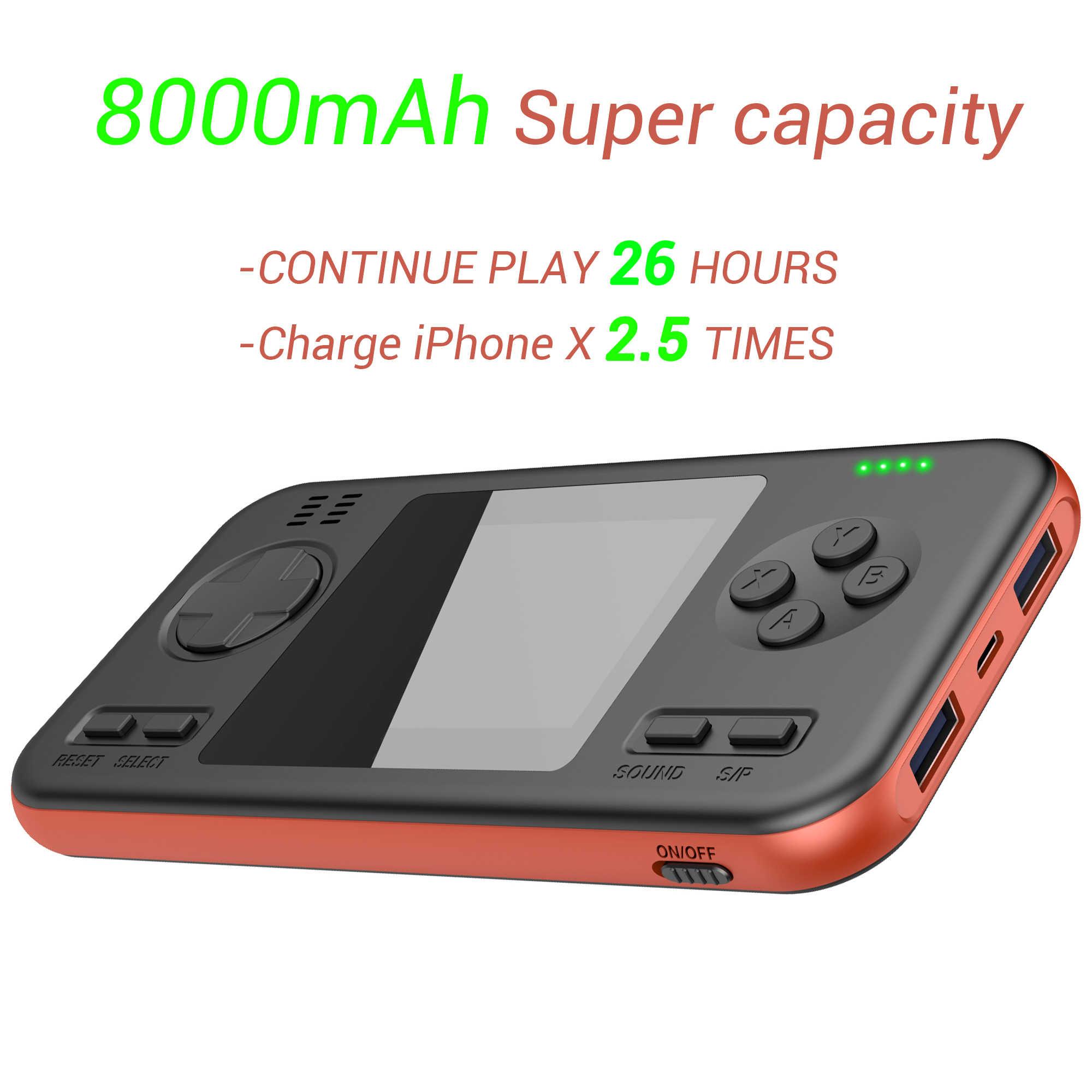 Incorporado 416 juegos con batería de 8000mAh Retro videoconsola de juegos de mano 2,8 pulgadas Color LCD