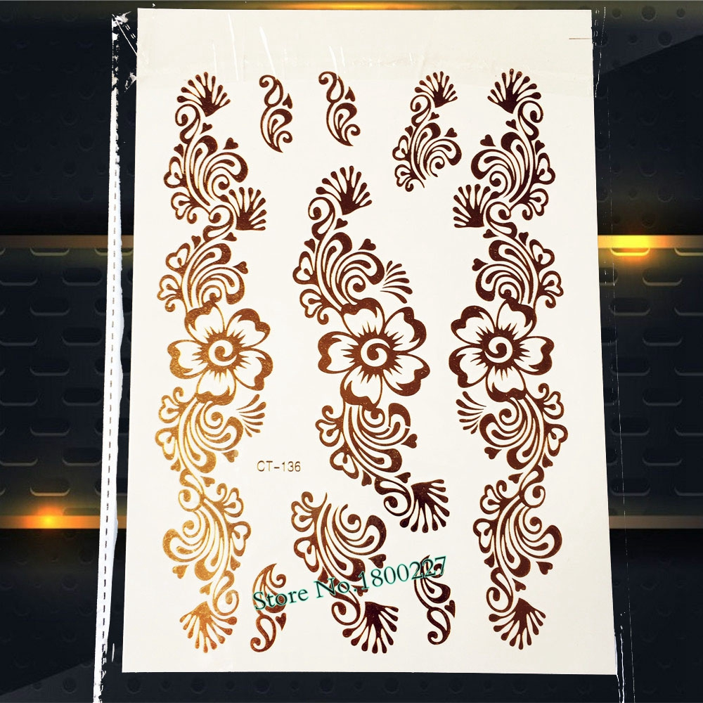 Henna Lace Bracelet Temporary Tattoo Sticker: 1 Sheet Large Bracelet Henna Flash Metallic Tattoo Sticker