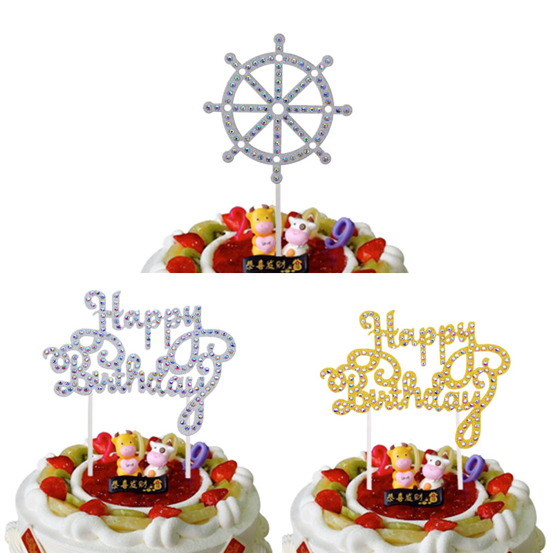 1pc Creative Shiny Crystal Cake Toppers Happy Birthday Gold Silver Paper Board Cake Flag Birthday Party Cake Decor Supplies