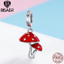 Jewelry Mushroom Bracelets Necklaces Beads-Fit Enamel Charms 925-Sterling-Silver BISAER