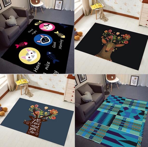 120*80 cm INS mode Super doux flanelle noir et blanc tapis 15mm d'épaisseur doux salon tapis de jeu tapis antidérapant tapis couverture