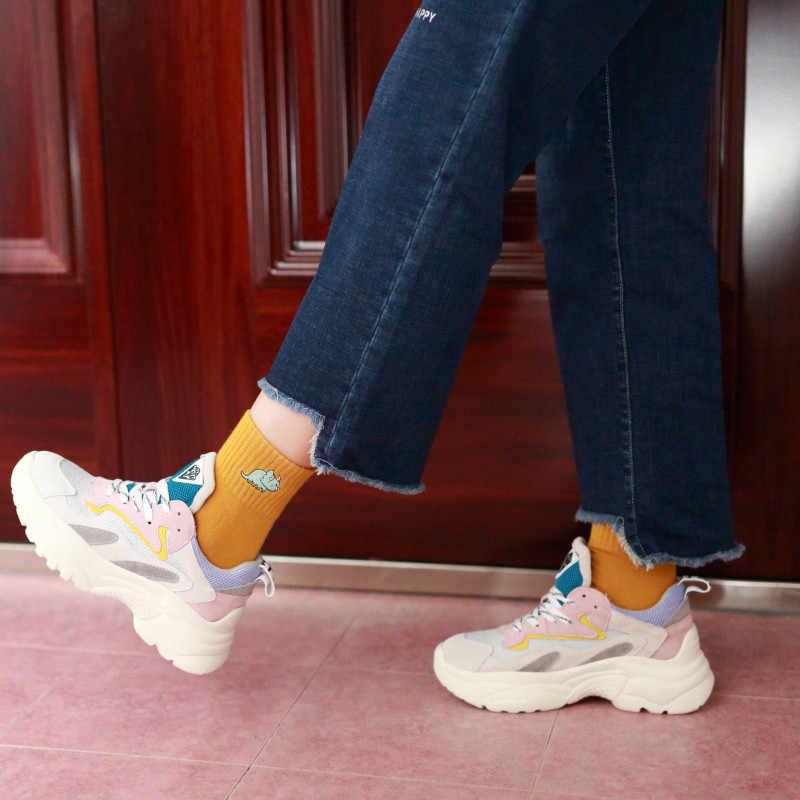 Kadın Çorap Sonbahar Kış Yeni pamuk çorap Karikatür Hayvan Nakış Dinozorlar Yaratıcı Kişilik Eğilim Harajuku Çorap W105