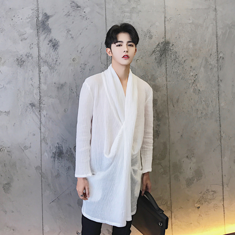 S-5XL!!! 2018 Three-dimensional cut novelty collar shirt linen male spring and summer medium-long shi The singers clothing