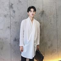 S XXL 2017 Three Dimensional Cut Novelty Collar Shirt Linen Male Spring And Summer