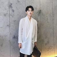 S XXL 2017 Three Dimensional Cut Novelty Collar Shirt Linen Male Spring And Summer