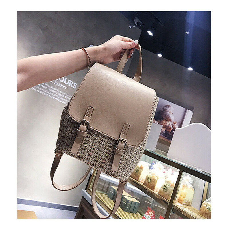 Women Backpack Travel Leather Patchwork  Straw  Backpack Small Rucksack Shoulder Bags Fashion