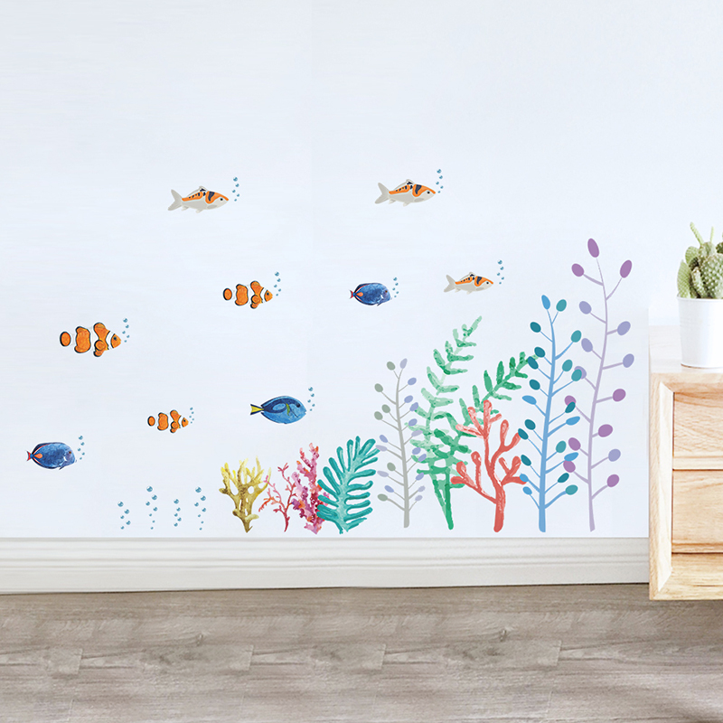 Colorful Fish Underwater World Wall Decals Kids Rooms Bathroom Home Decoration Cartoon Animals PVC Wall Stickers DIY Mural Art
