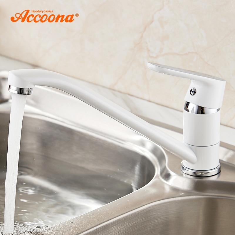 Accoona Kitchen Faucet Polished Spray Paint Single Handle Swivel Spout Vessel Sink Mixer Tap Zinc Alloy Kitchen Faucets A4166