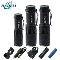 2016 new Zoom Mini cree XML T6 flashlight LED torch XM-L L2 xm l q5  lanterna waterproof Use rechargeable batteries flash light