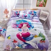 Purple Disney Mermaid Princess Bedding Set Twin Size Bedspread Queen Comforter Duver Covers Girls Bedroom Decor 100% Cotton Kids