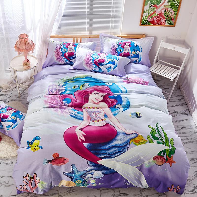 purple disney mermaid princess bedding set twin size