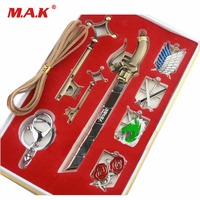 Attack On Titan Key Chains Key Necklace Sword 9 Piece Jewelry Set Anime Set Cosplay Toys