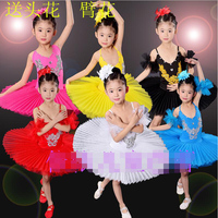 Colors Sequined Kids White Swan Lake Pancake Professional Ballet Tutu Dress Dancewear Girls Ballroom Dancing Costume