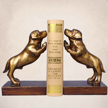 a Pair Creative  Resin Dog  Bookends Book Hold  Office Supplies American Retro Rural Bookends Gift