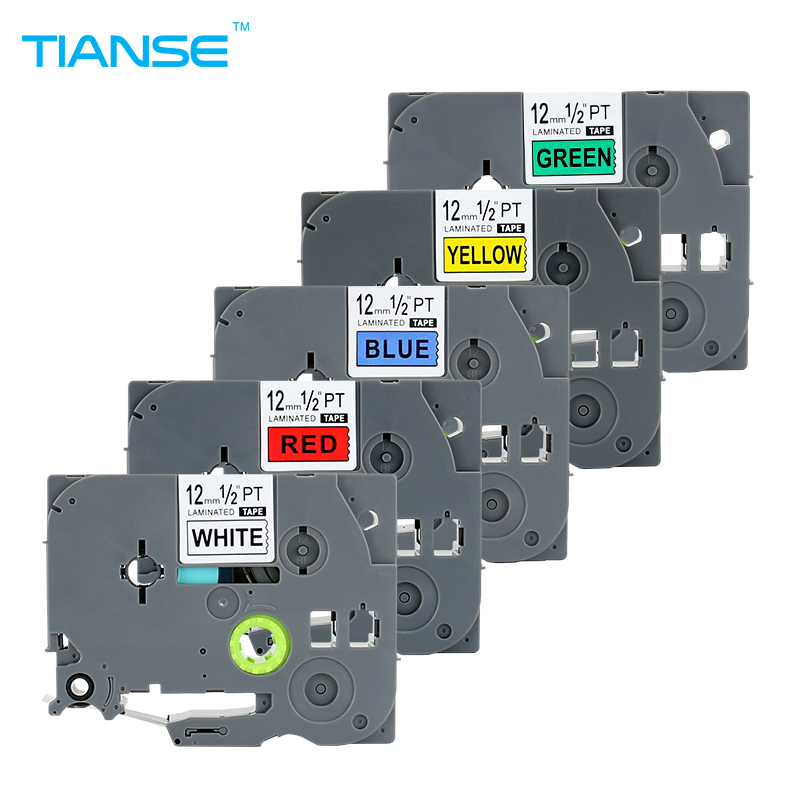 TIANSE 5PK mix colors 12mm for Brother P-touch label tape TZe 231 431 TZe-531 TZ 631 tze-731 maker printer ribbon Tze231 Tze531 rolsen hs 1002 page 3 page 2 page 6
