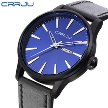 CRRJU 2016 Mens Watches Top Brand Luxury Men's Quartz Watch Waterproof Sport Military Watches Men Leather Relogio Masculino