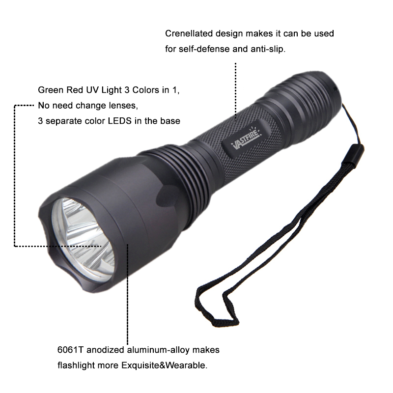 2000LM Rifle Hunting Fog Torch Zoomable 5 Mode Flashlight Long Range White Light