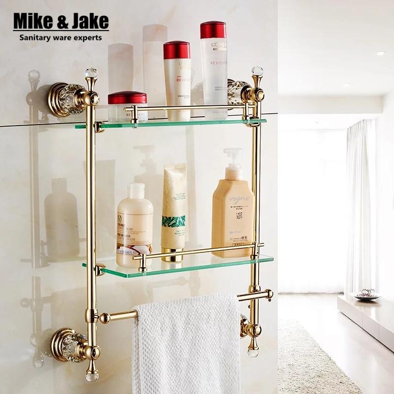 Bathroom Wall Mounted Golden crystal Bathroom shelf crystal Bathroom Shelves wall double glass shelf Racks