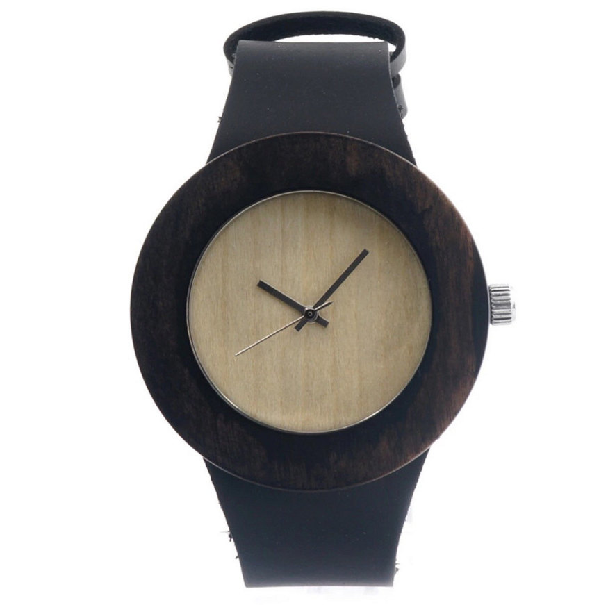 Wooden Wristwatch For Women Fashion Gifts With Genuine Leather Straps