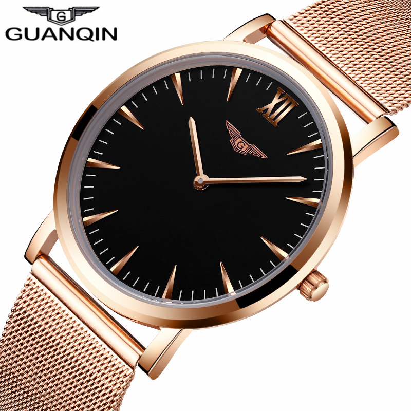 relogio masculino GUANQIN Top Brand Men Fashion Business Watches Men's Quartz Clock Male Stainless Steel Mesh Strap Wrist Watch eyki top brand men watches casual quartz wrist watches business stainless steel wristwatch for men and women male reloj clock