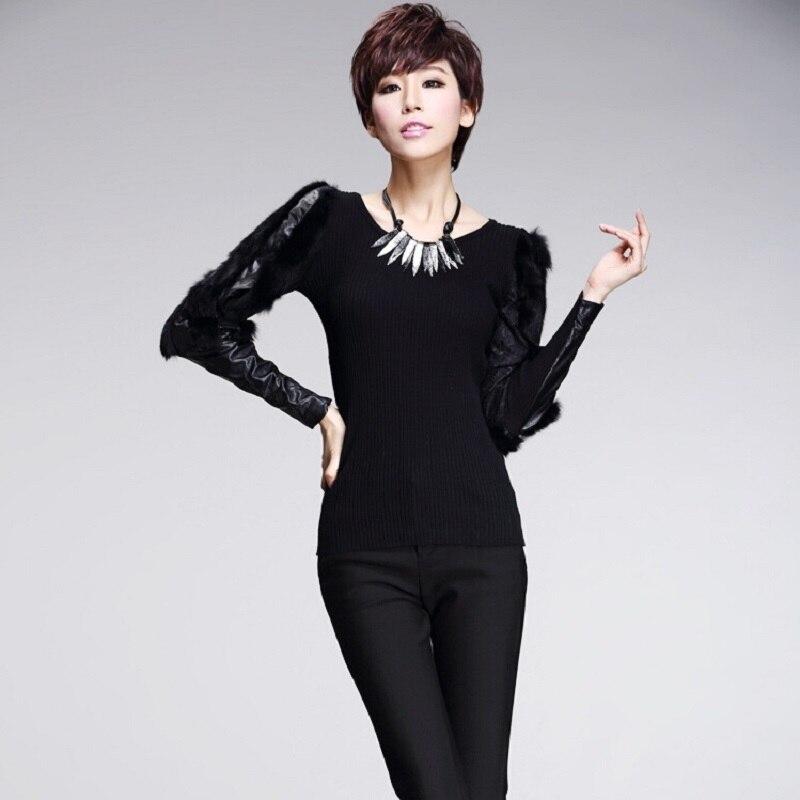ASYMSAY Knitting Pullover O-Neck-Sweater Long-Sleeve Fashion Women European AC8108 Stitching