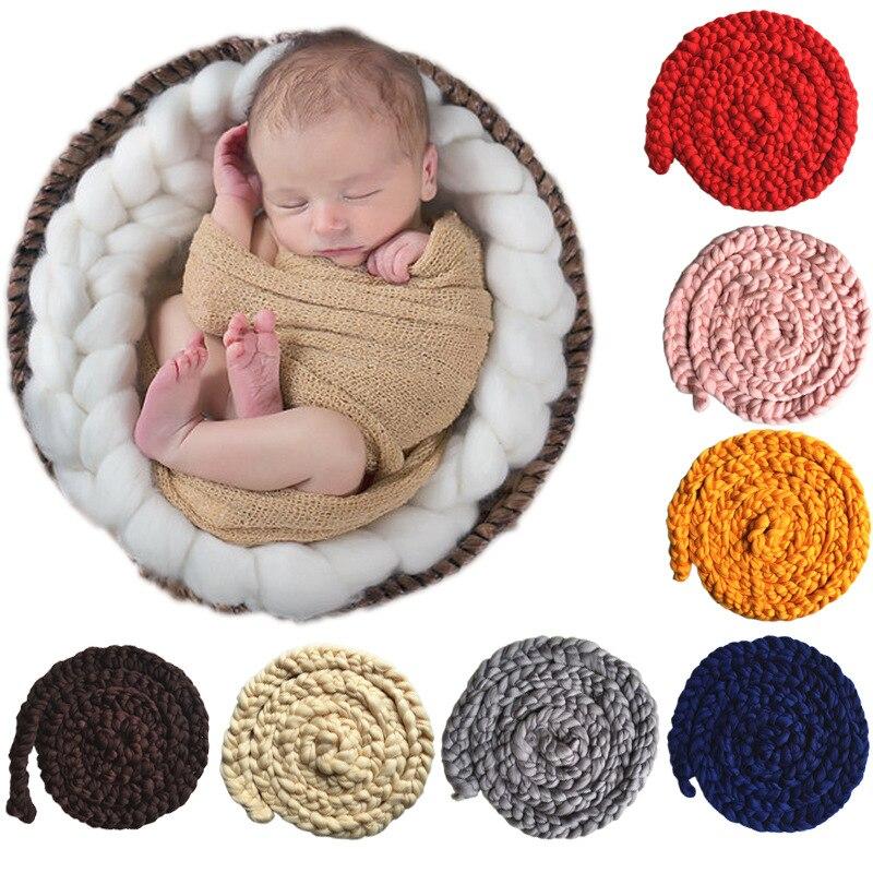 Baby photography props basket filler stuffer newborn photo accessories infant blanket rope handmade crochet warm wrap Xams gift