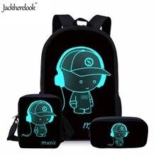 Jackherelook Luminous Pattern Middle School Students 3PCS Sets Schoolbags Orthopedic Backpacks for Teen Boys Girls Kids Satchel