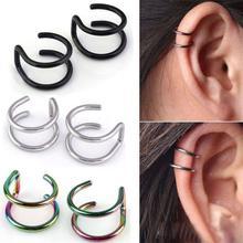 1 пара ушных манжет спиральный для хряща ушное кольцо Поддельные клипсы на манжете обертывание Верхних не прокалываемых зажимов на застежке кольцо ушные манжеты ювелирные изделия для тела