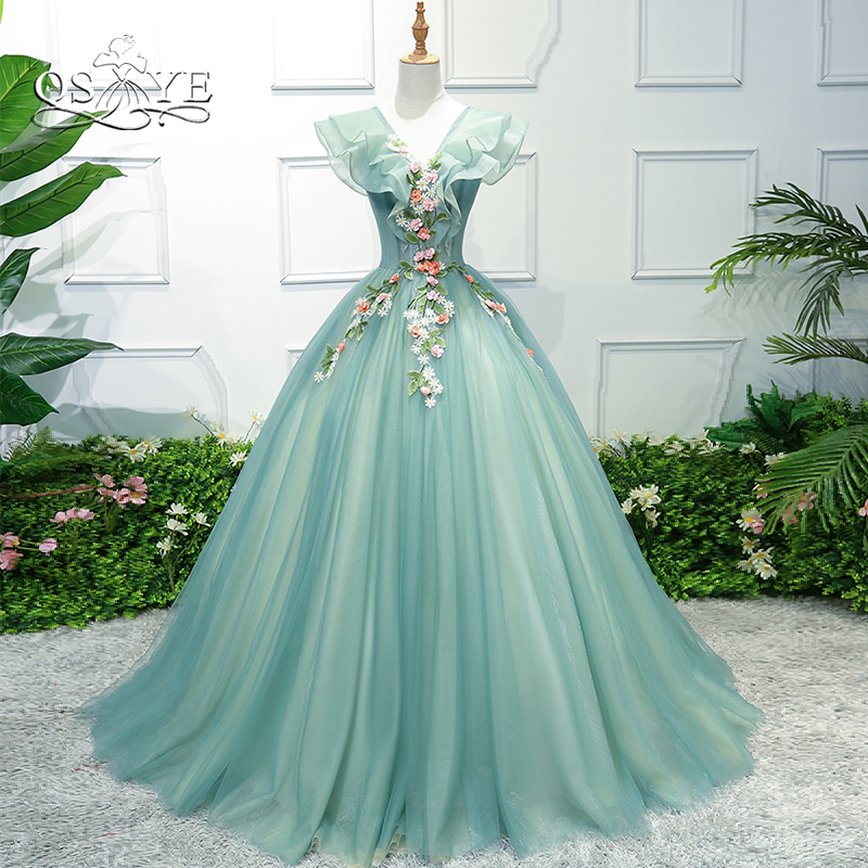 QSYYE 2019 New Long   Prom     Dresses   Robe de Soiree V Neck 3D Print Lace Floor Length Tulle Women Formal Evening Party Gowns
