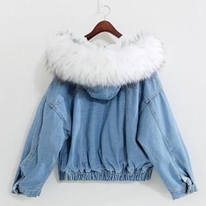 Image 5 - Big Faux Fur Collar Winter Jacket Women Oversized Batwing Sleeve Denim Jackets Wool Liner Jeans Coat Velvet Warm Jaqueta Hoodies