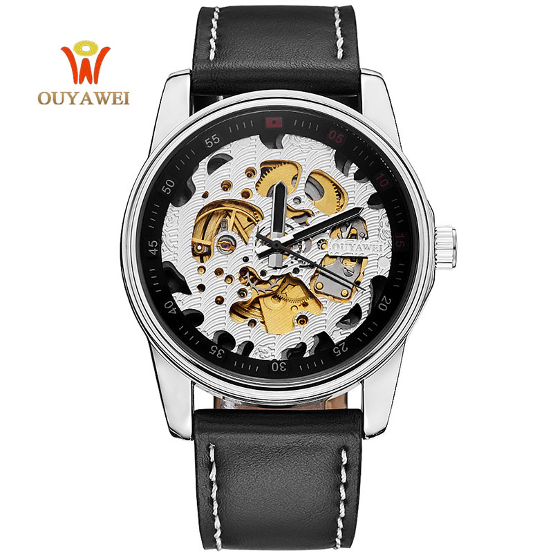 OUYAWEI Luxury Brand Men Watch Gold Skeleton Casual Watches Automatic Mechanical Wrist watches  Man's  clock Reloj Hombre mce luxury brand skeleton square mechanical watches leather gold automatic watch men waterproof casual wristwatch reloj hombre