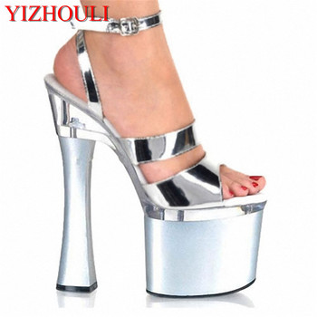 Big Size 18cm Sexy Super High Heel Platforms Crystal Sandals, Pole Dance / Performance / Star / Model Shoes, Woman Wedding Shoes